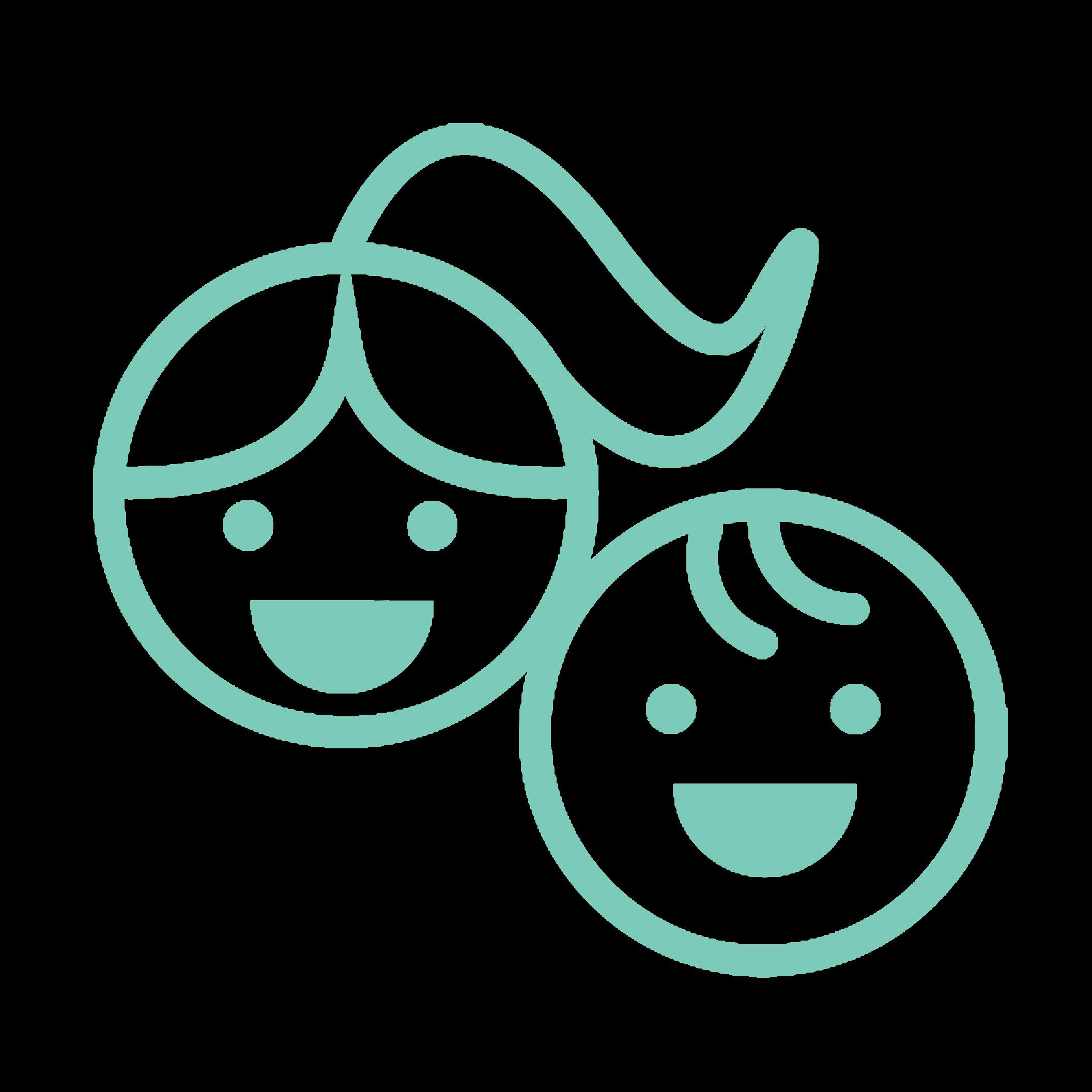 Dessin de deux têtes d'enfants. Les animation sont adaptées à des enfants de 6 à 14 ans.