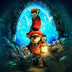 Illustration d'un petit être portant une lanterne, représentant l'escape game : Le portail magique.