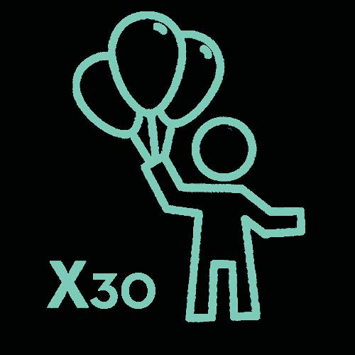 Enfant portant des ballons, symbolisant 10 enfants pouvant être invité à un escape game.